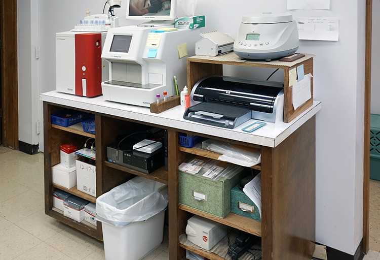 Our blood lab which enables us to conduct many tests in-house for quicker patient response