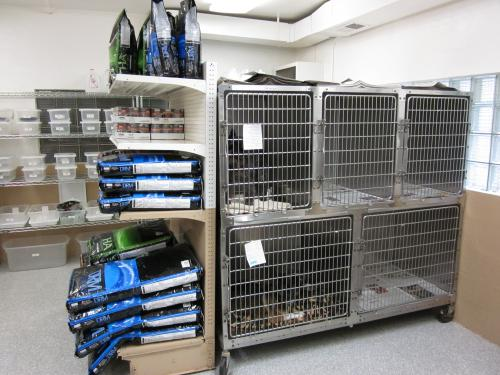 bank of cages in our boarding area